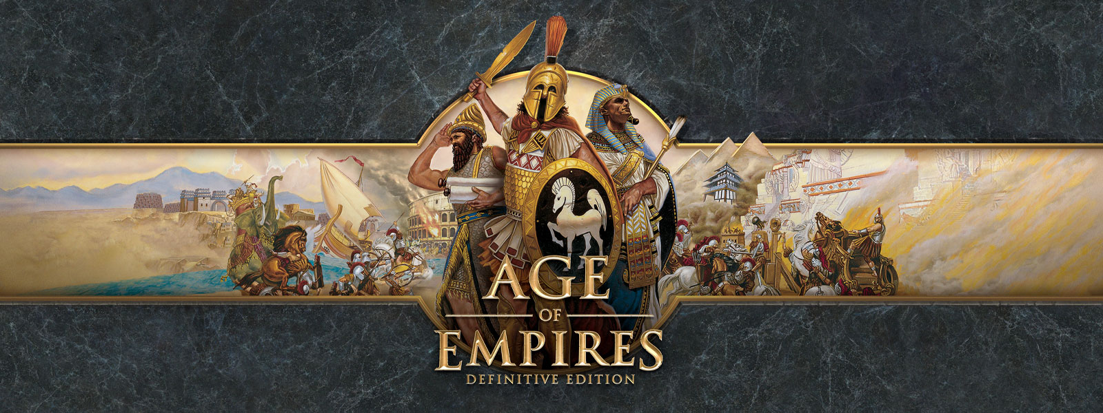 Announcing Age of Empires Definitive Edition logo on a grey slate background featuring war leaders and their armies