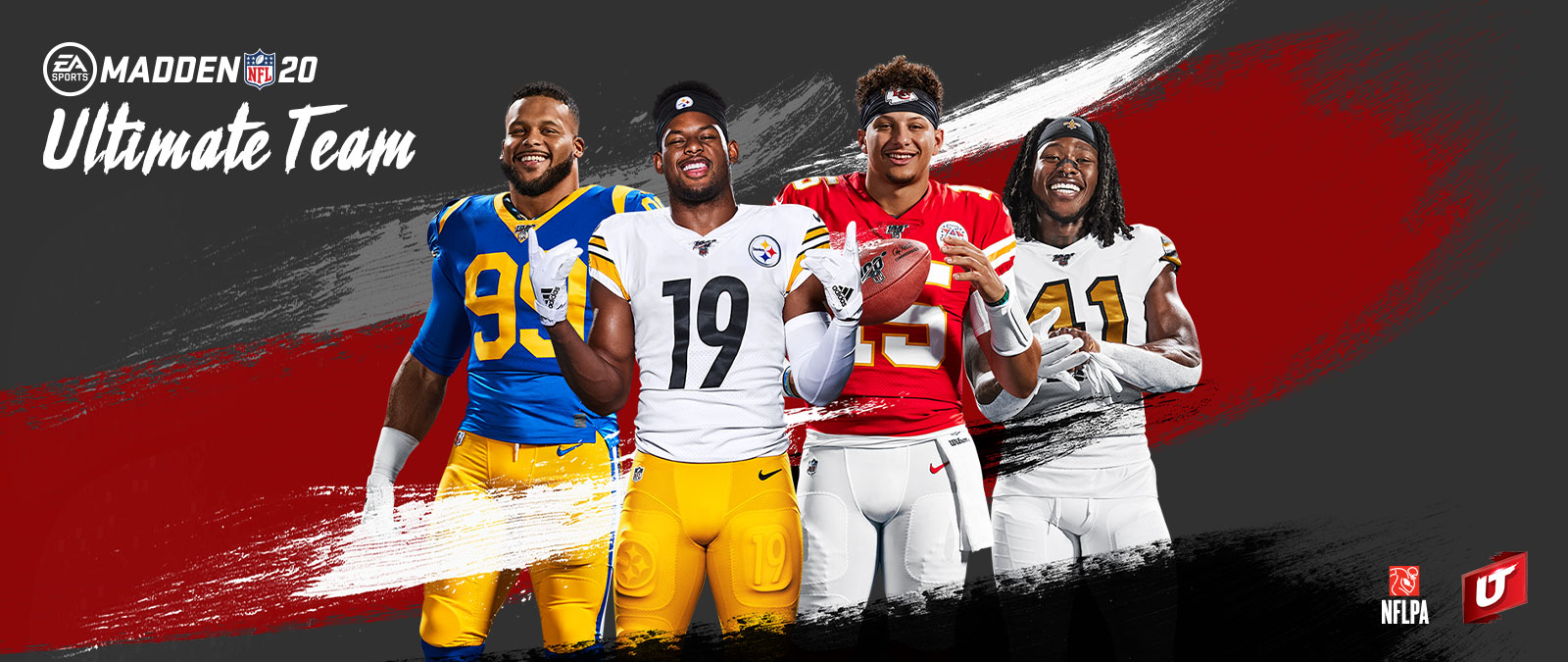 EA Sports, Madden NFL 20, Ultimate Team, Ultimate team-logo, NFLPA-logo, vier football-spelers poseren