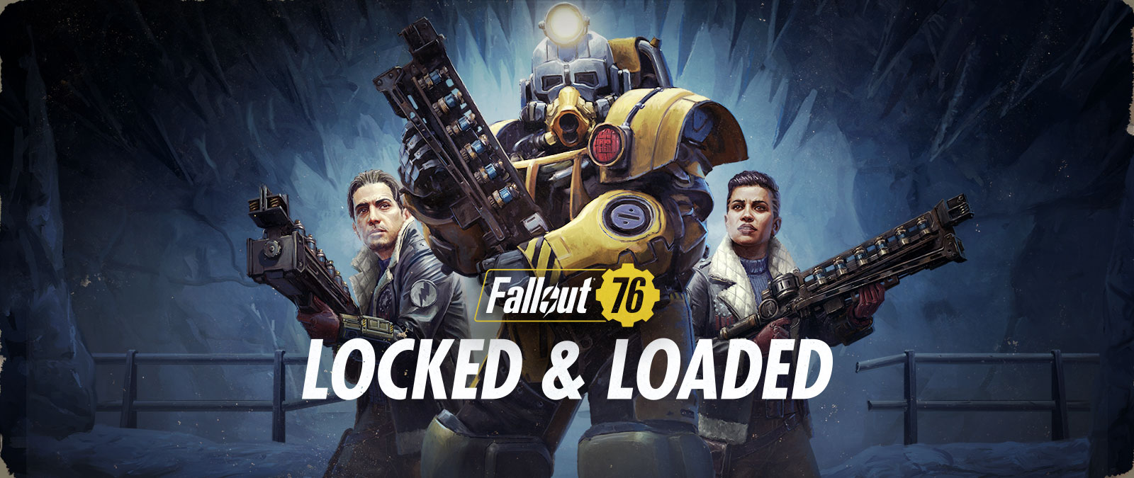 Fallout 76 Locked and Loaded, 1 character in Power Armor and 2 others behind hold up their guns