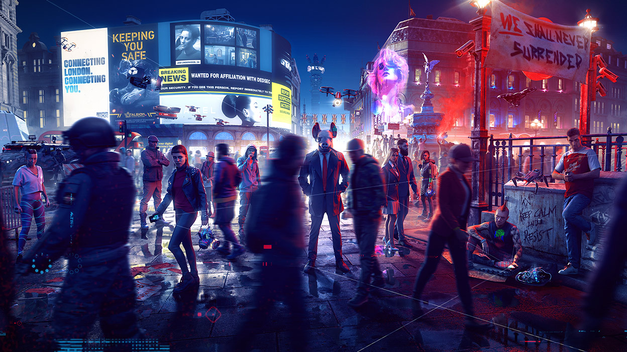 A person in a pig mask and a suit in focus, among a crowd of people in Watch Dogs: Legion