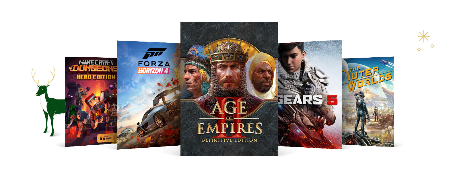Collection of games, including Minecraft Dungeons Herd Edition, Forza Horizon 4, Age of Empires II Definitive Edition, Gears 5 and The Outer Worlds.