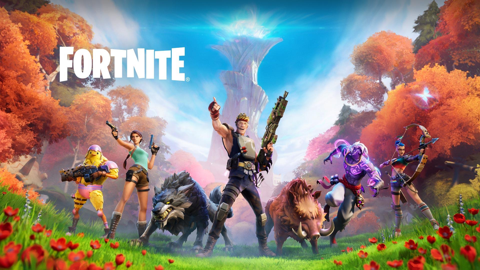 Fortnite, Un groupe de personnages et d'animaux sauvages sont alignés devant un paysage de forêt luxuriante.