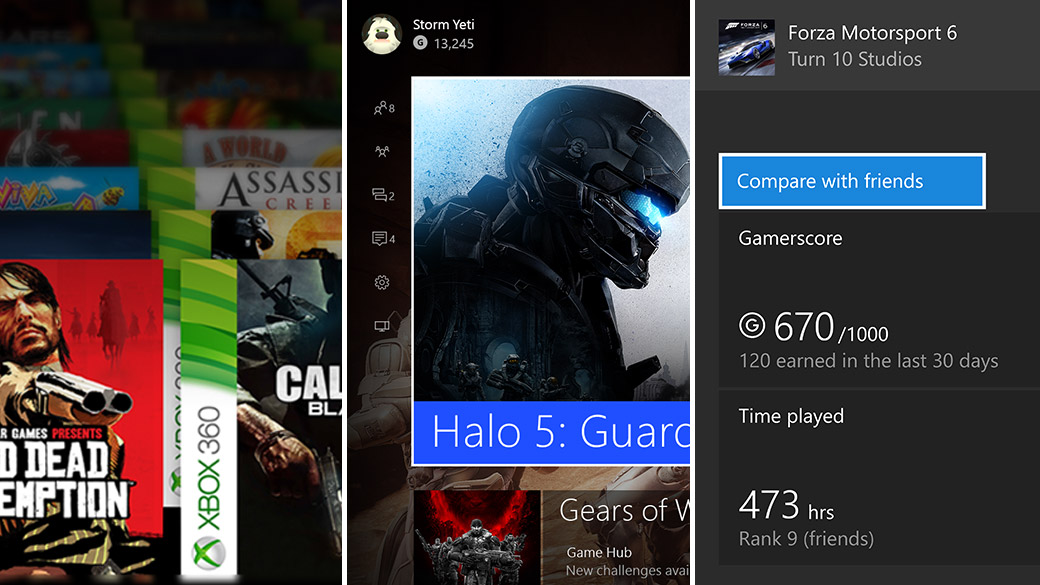 Screenshot of the Xbox Dashboard showing players gamerscore and achievements