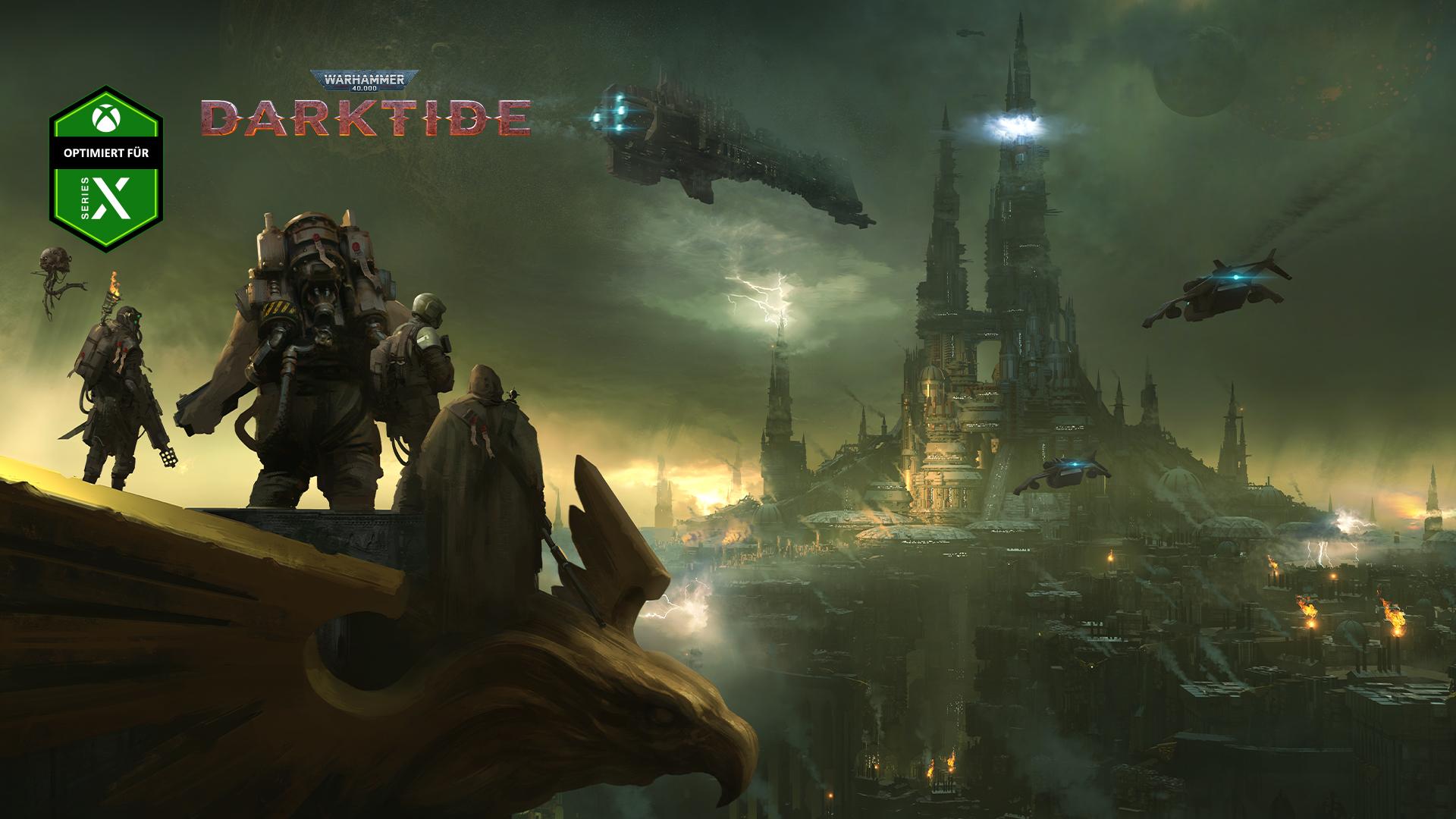 Optimiert für Series X, Warhammer 40.000 Darktide, eine Gruppe von Figuren blickt über eine in Nebel gehüllte Stadt.