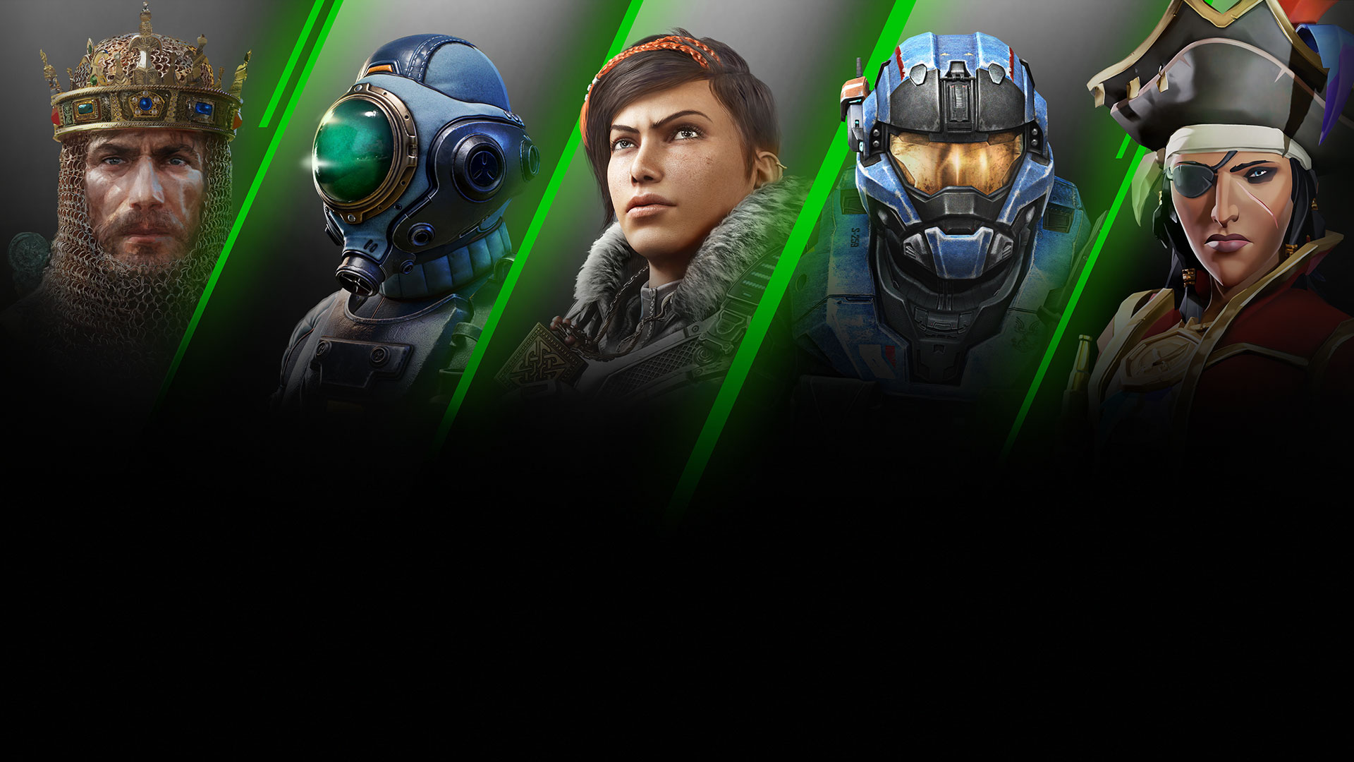 A montage of games available on Xbox Game Pass for PC, including Age of Empires 2: Definitive Edition, The Outer Worlds, Gears 5, Halo Reach, and Sea of Thieves.