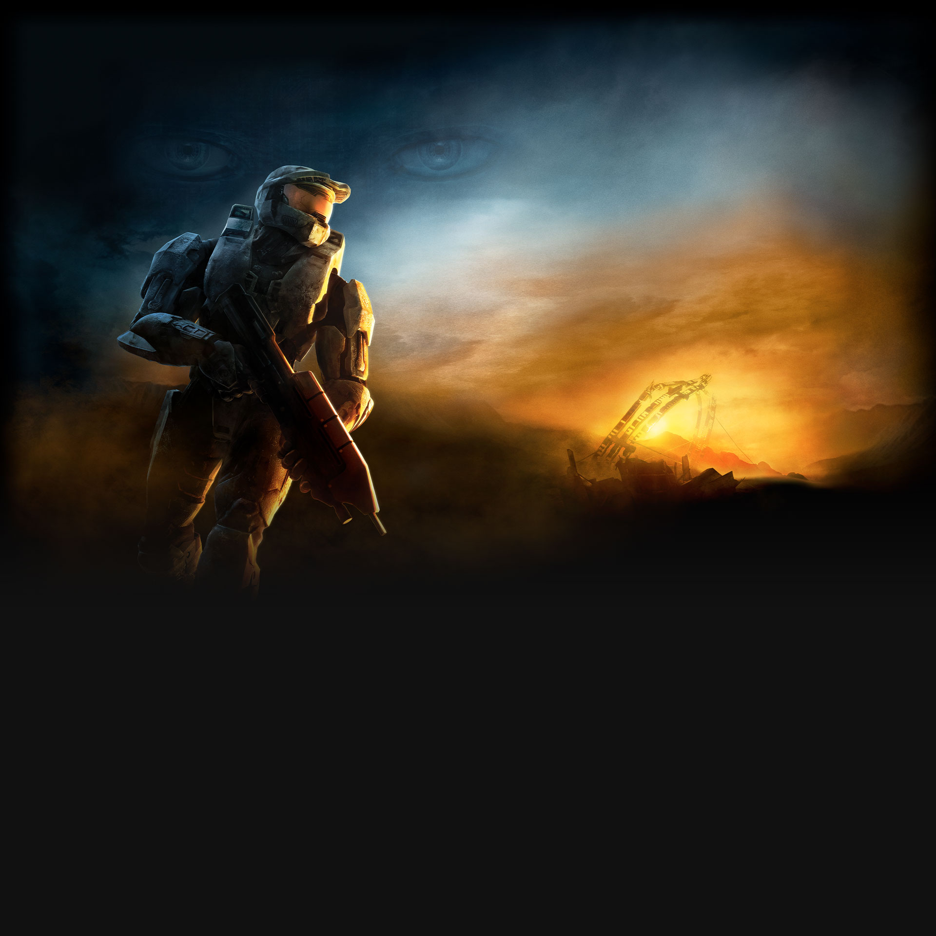 Halo 3, Master chief holds an assault rifle in a desolate area with Cortana's eyes in the sky