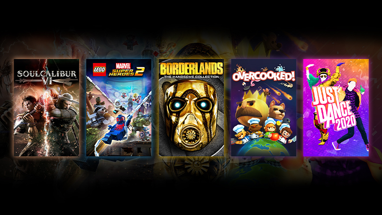 A collage of Xbox One games on sale, including Borderlands: The Handsome Collection and Overcooked!