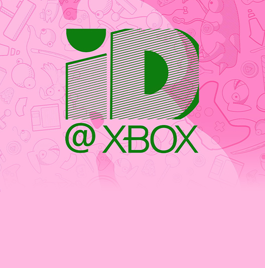 The ID@Xbox logo against a background of fun and cartoonish objects, including various items used for gaming