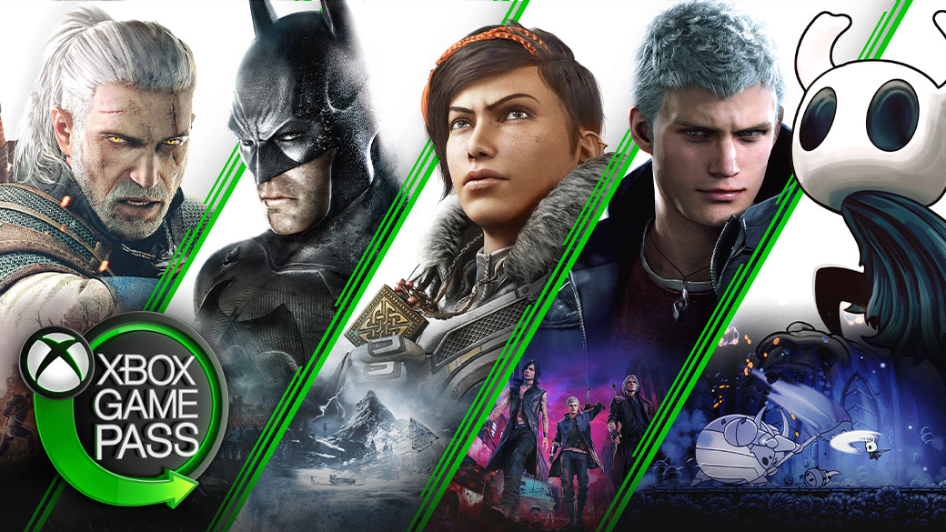 Kollaasi Xbox-peleistä, kuten Witcher 3: Wild Hunt, Batman (Arkham-sarja), Gears 5, Devil May Cry 5 ja Hollow Knight.