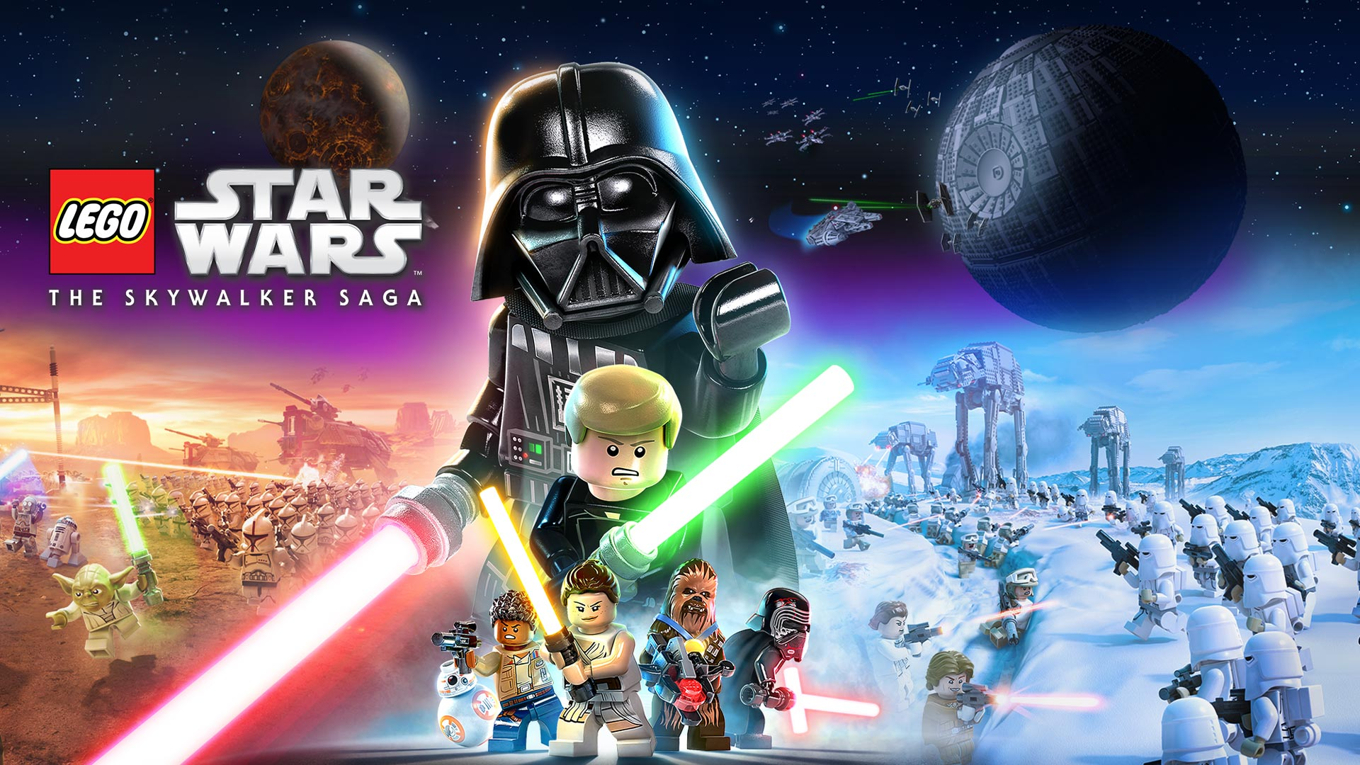 LEGO Star Wars The Skywalker Saga, A collage of characters with space battles in the background.