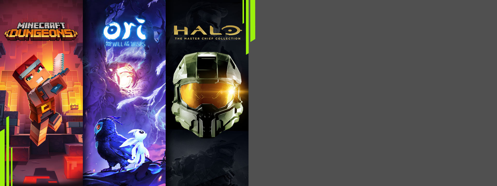 Three panels showing Minecraft Dungeons, Ori and the Will of the Wisps, and Halo: The Master Chief Collection