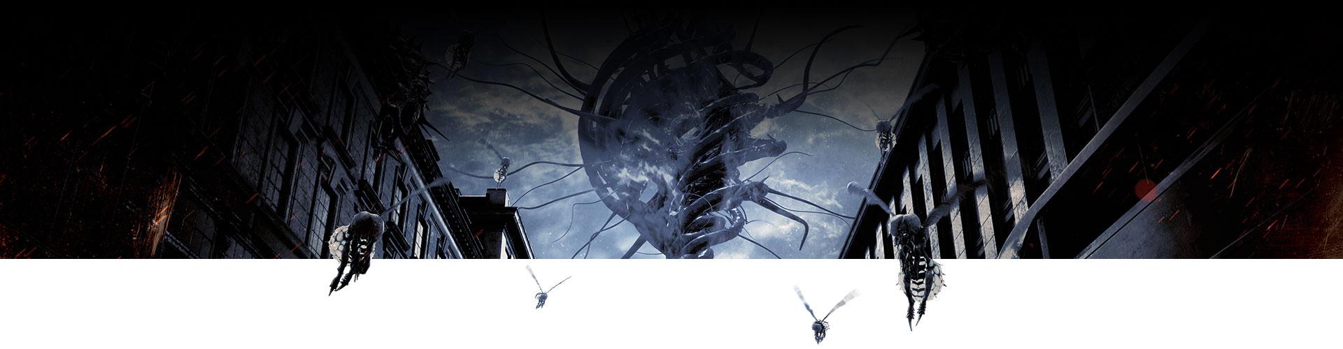 Terk edilmiş şehirde böcekler uçuşuyor