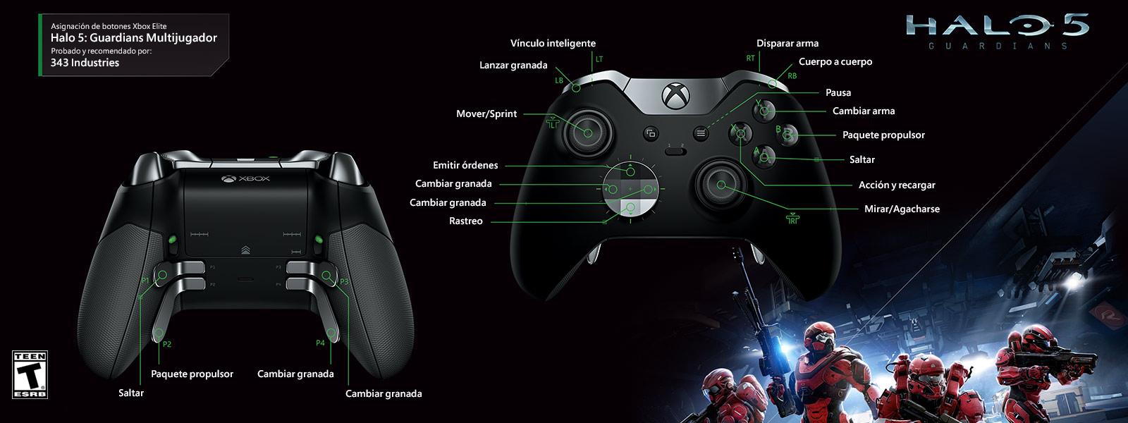 Multijugador en Halo 5: Guardians (asignación de funciones del control Elite)