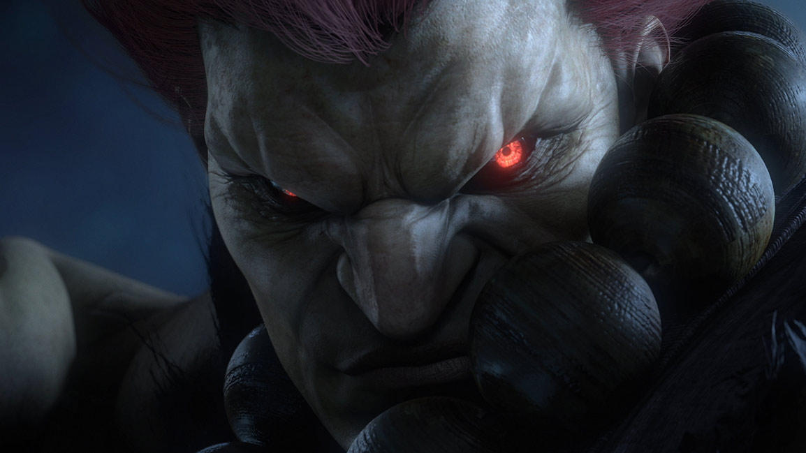 Close-up van Street Fighter-personage, Akuma, met gloeiende rode ogen