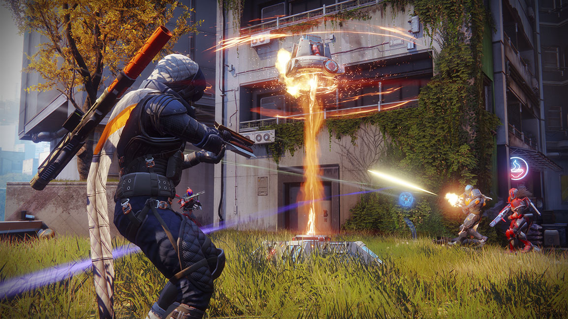 Four Destiny 2 players fight over a control point in PvP game mode