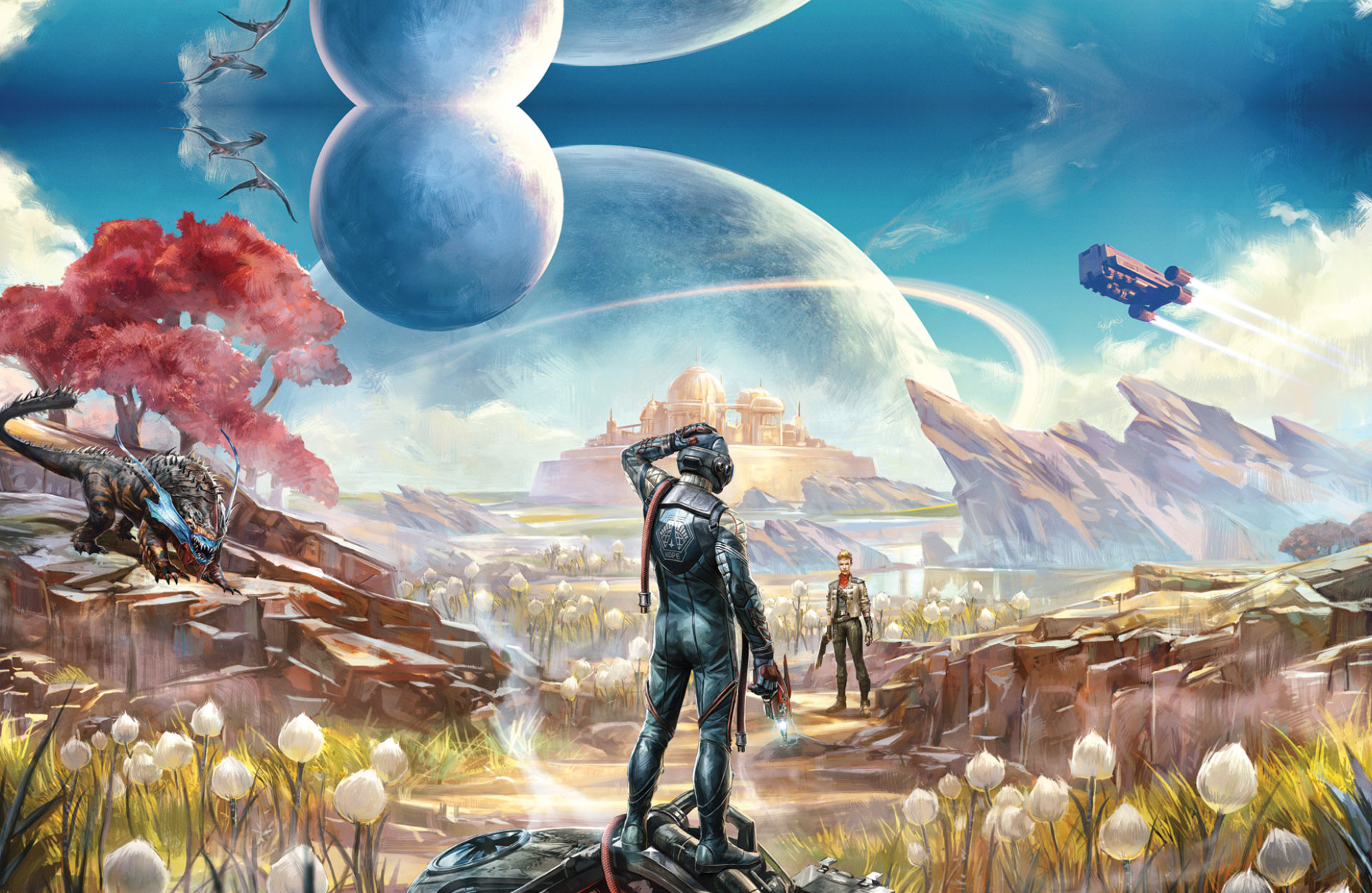 The Outer Worlds. A disoriented traveller looks at a woman in the distance on an alien world.