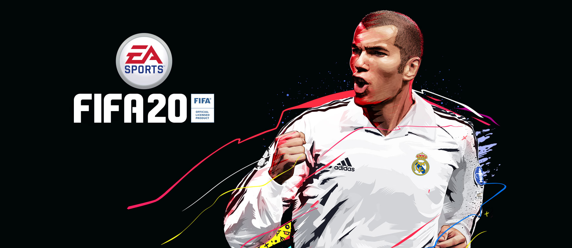 EA Sports logo, FIFA 20, FIFA Official Licensed Product, front view of Zinedine Zidane with colourful paint splatter behind him