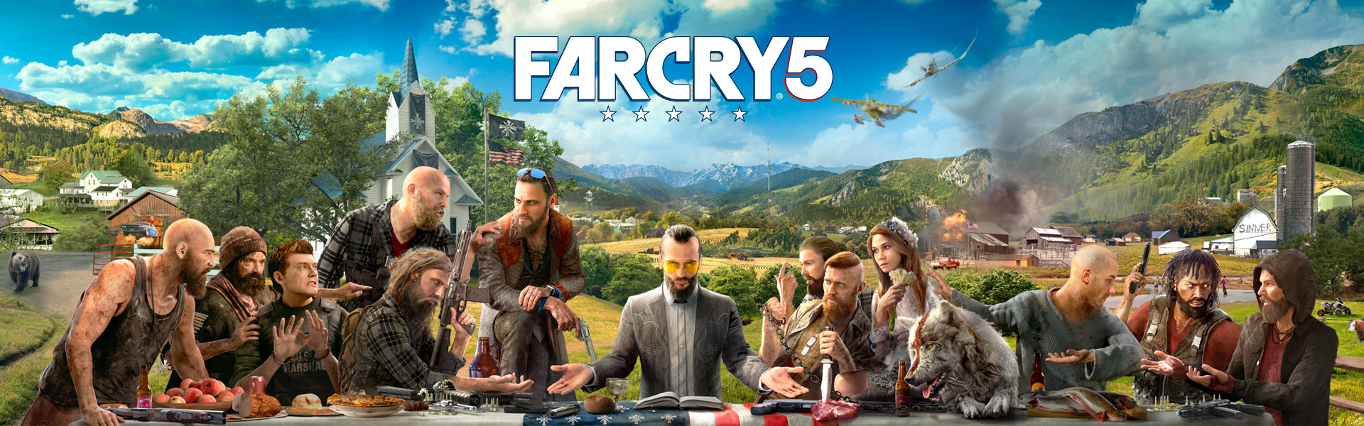 Far Cry 5 (personnages assis à table imitant la peinture La Cène de Léonard de Vinci)