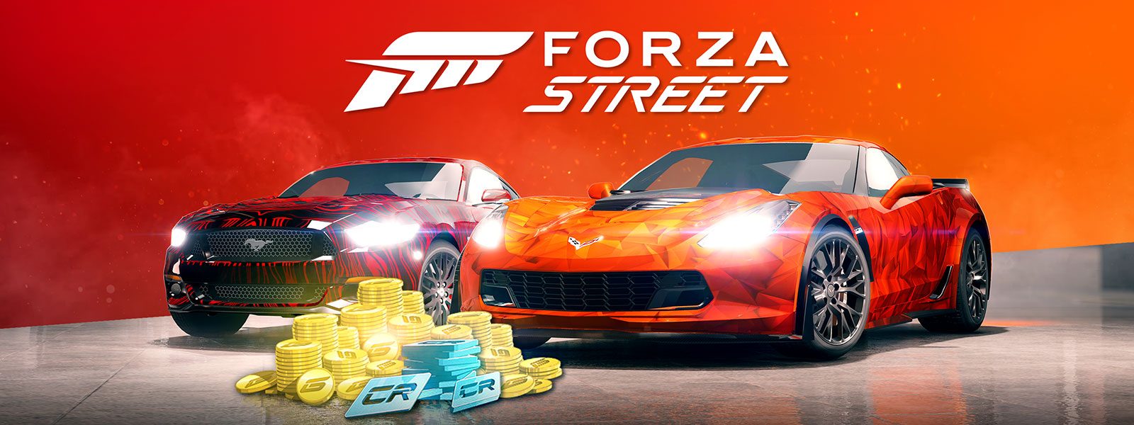 Forza Street logo, 2015 Ford Mustang and 2015 C7 Corvette Z06 with gold coins and credits