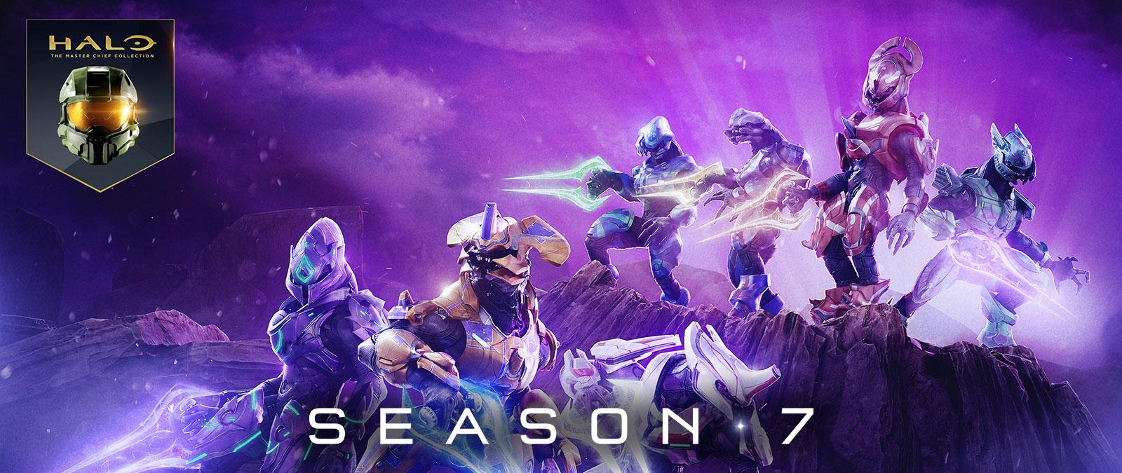 Halo: The Master Chief Collection,賽季 7,多位精英身穿各式護甲,手持不同顏色的能量劍