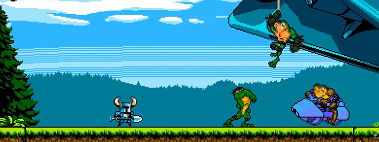 Alien frogs on hover bikes fighting a knight with a shovel