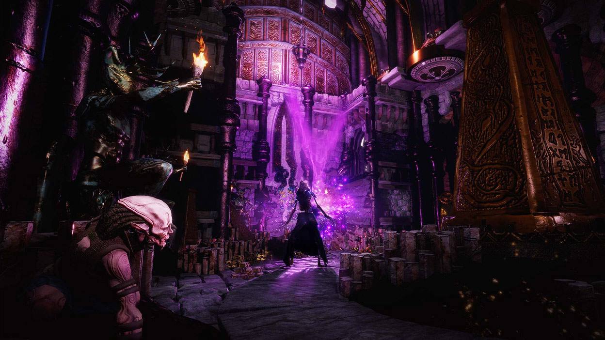 A creature looking towards another creature levitating towards a purple glowing orb in a large room