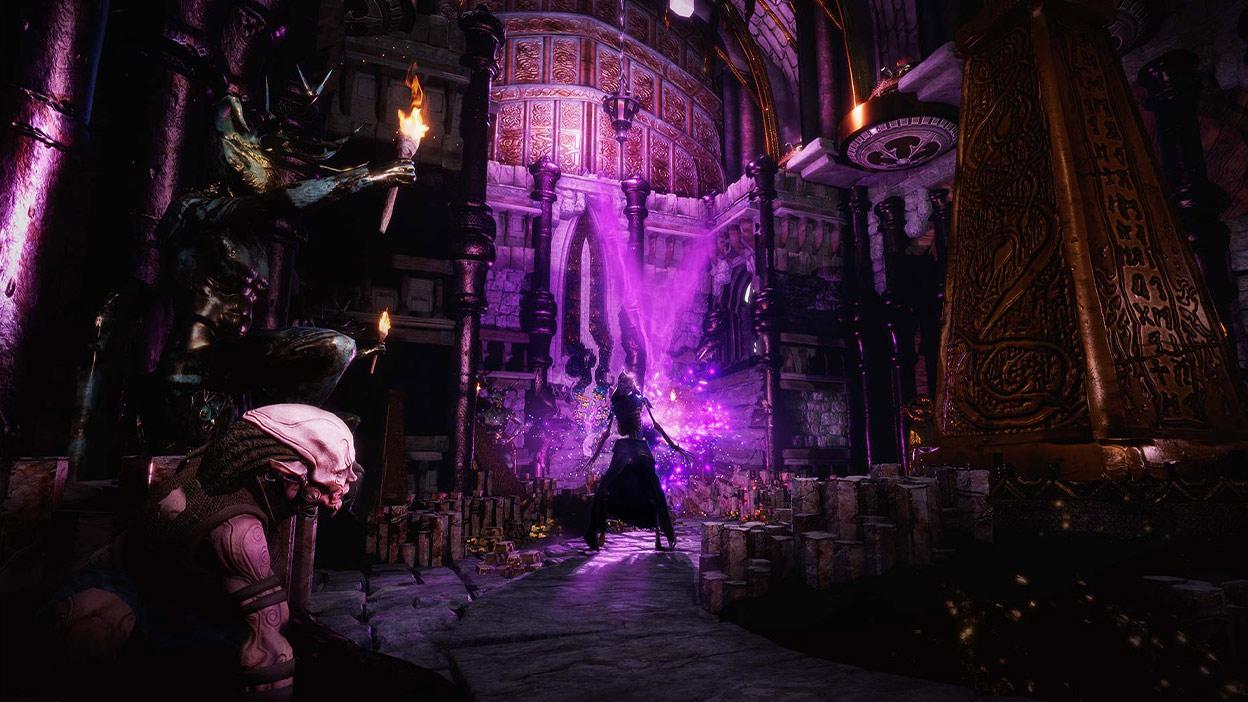 Una criatura mirando a otra criatura que levita hacia un orbe violeta brillante en una sala grande