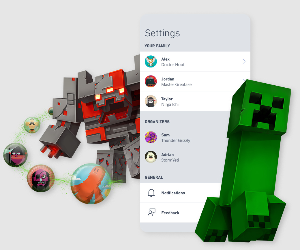 Minecraft characters surround Xbox Family Settings app UI screenshot.