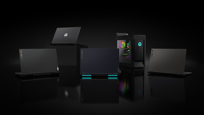 Collection of Lenovo Legion laptop and desktop PCs.