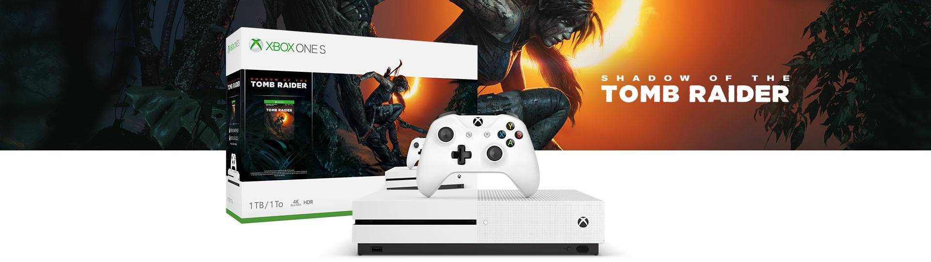 Xbox One X e Controle ao lado do Shadow of the Tomb Raider para Xbox One S de 1TB