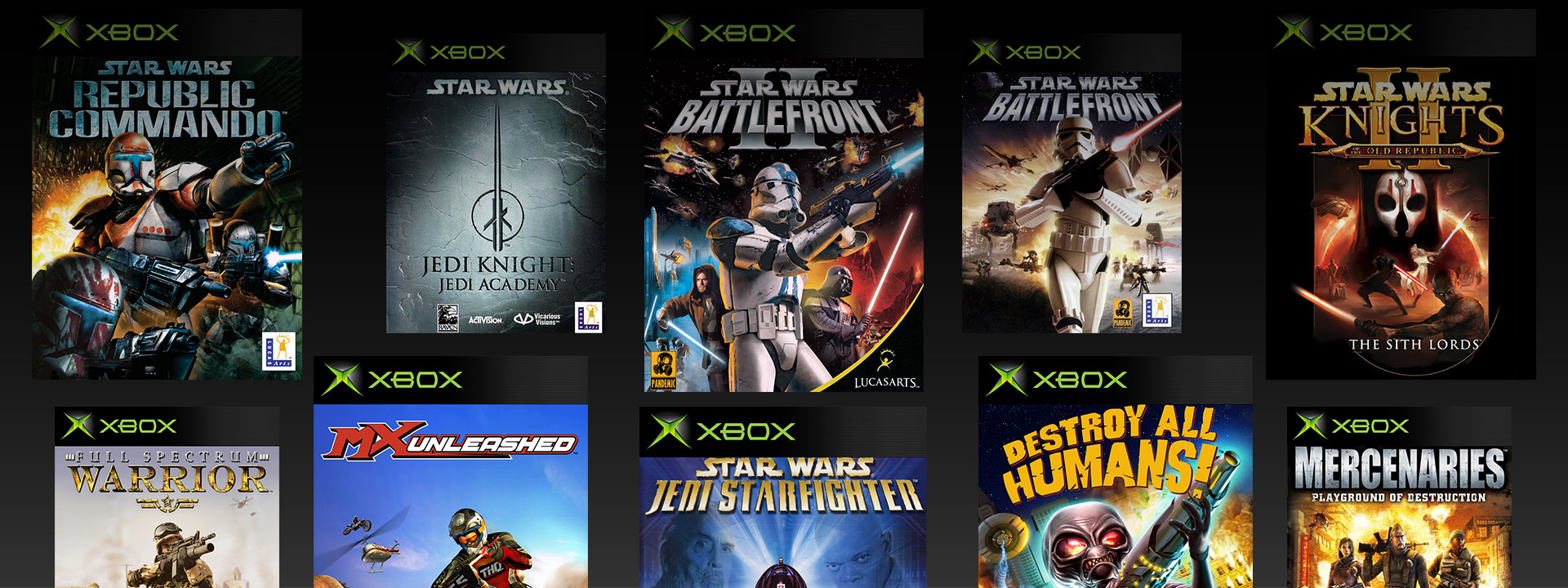 Original Xbox boxshots of Star Wars Republic Commando Jedi Knights Jedi Academy Battlefront 2 Battlefront 1 Knights of the old Republic 2 Full Spectrum Warrior MX Unleashed Destroy All Humans Mercenaries