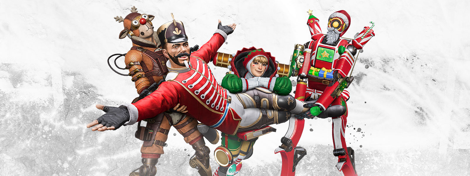 A group of Apex characters joyously pose in Christmas-themed costumes.
