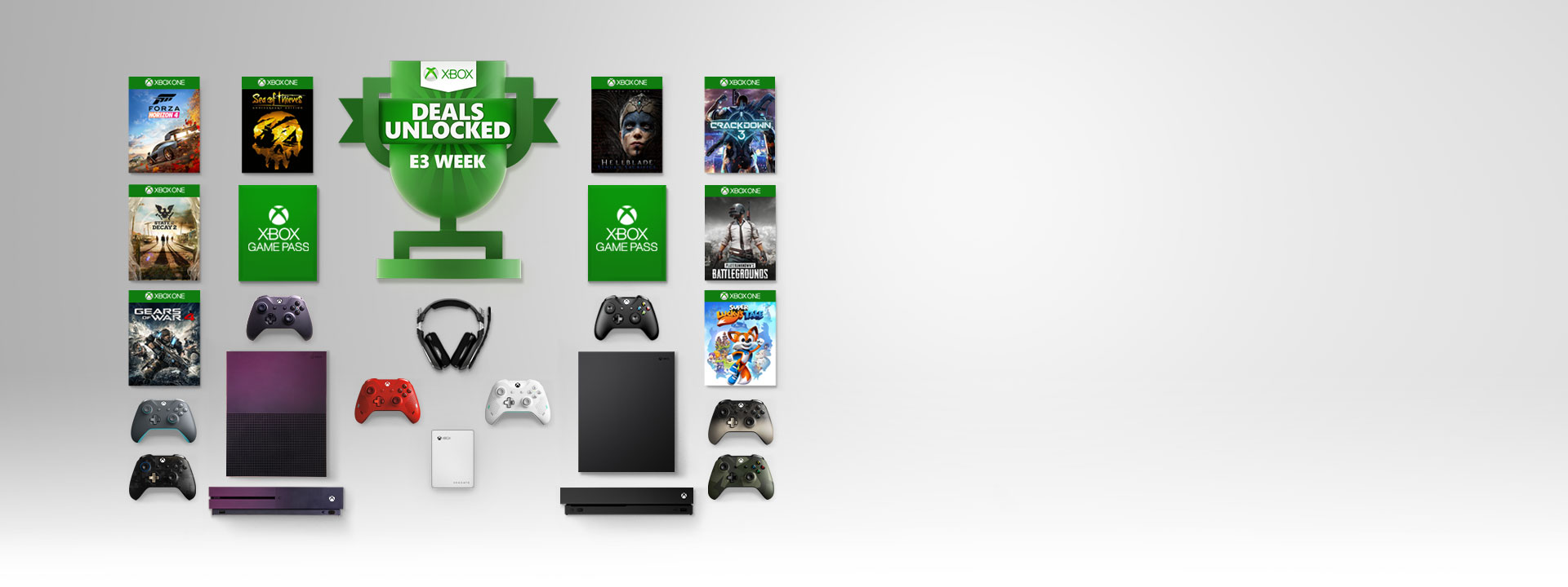 A collage featuring a trophy logo and Xbox One X, Gradient purple Xbox One S Special Edition, Xbox Game Pass, games, and accessories.