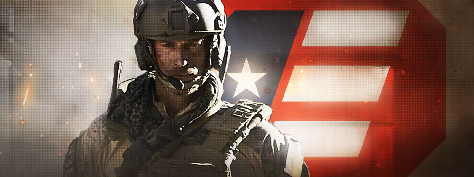 Call of Duty: Modern Warfare character wearing tactical gear in front of a red white and blue logo