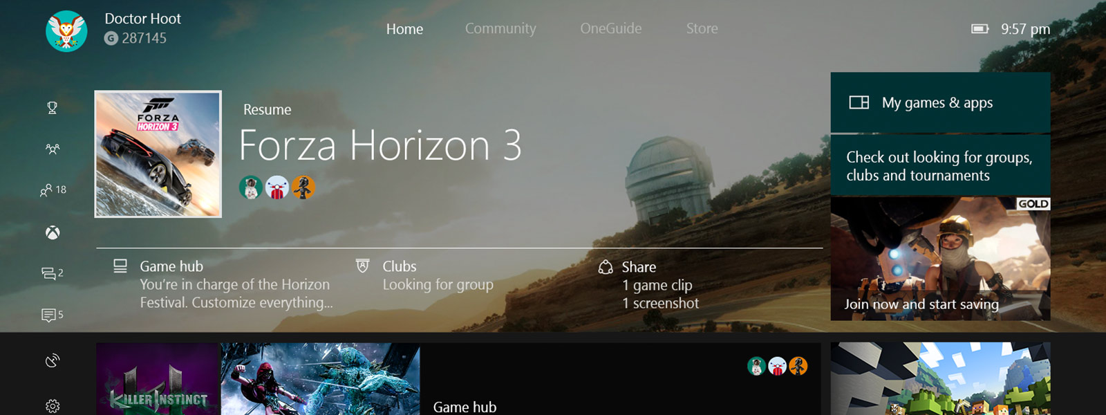 Xbox One Dashboard - Start