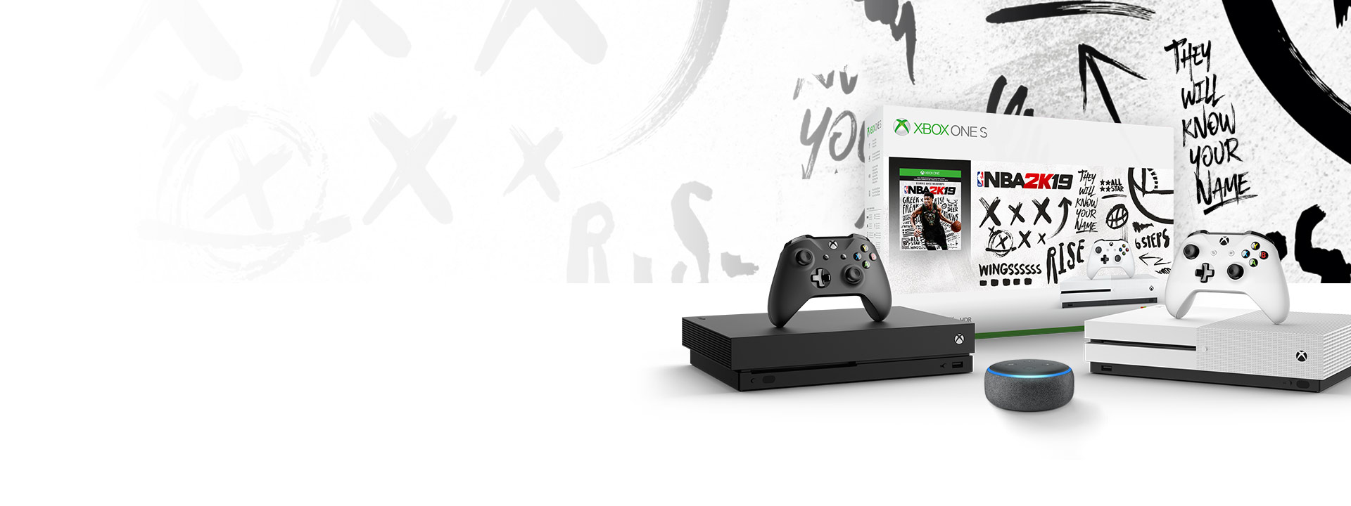 Xbox One X and Xbox One S with Amazon Echo Dot, in front of NBA 2K19 product box