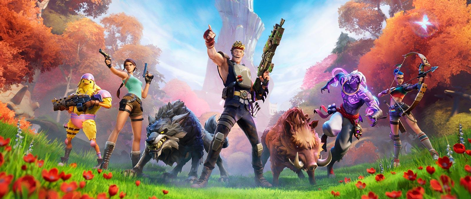 Un groupe de personnages et d'animaux sauvages sont alignés devant un paysage de forêt luxuriante.