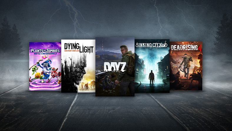 A collage of horror games on sale, including Day Z and Dead Rising 4