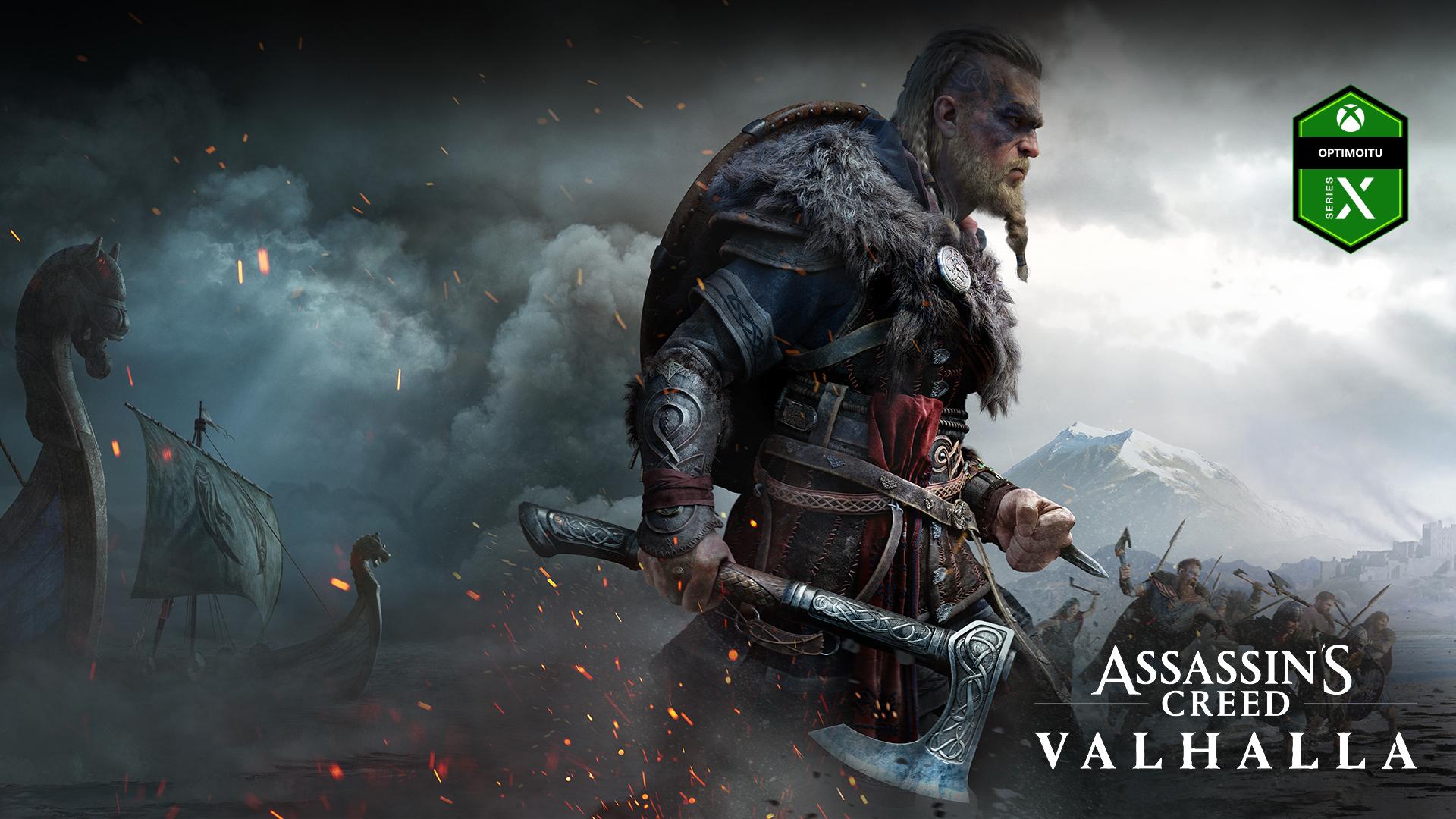 Optimoitu Xbox Series X -logo, Assassin's Creed Valhalla, hahmo kirveen kanssa, laivoja sumussa ja taistelu