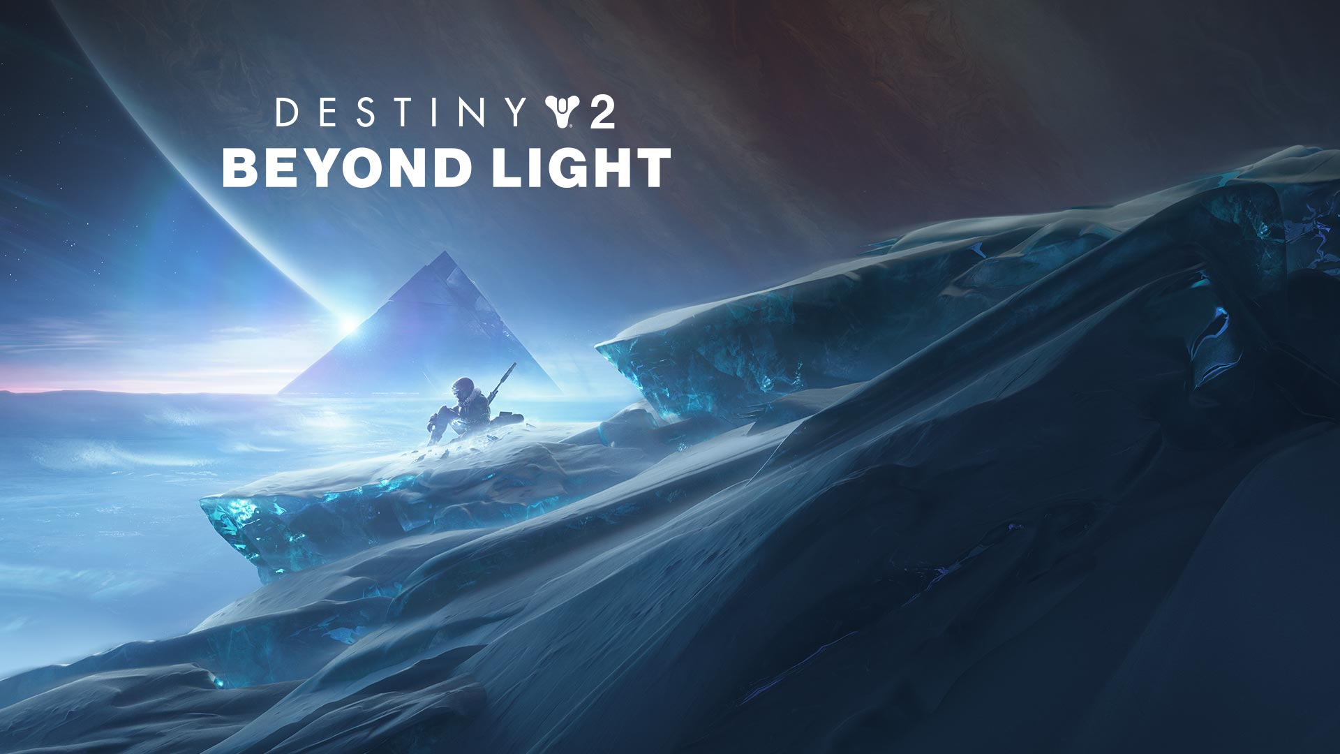 Destiny 2: Beyond Light, character sitting on a mountain with a pyramid in the background