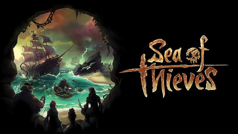 Pirater tittar på ett skepp som seglar genom en silhuett av en dödskalle