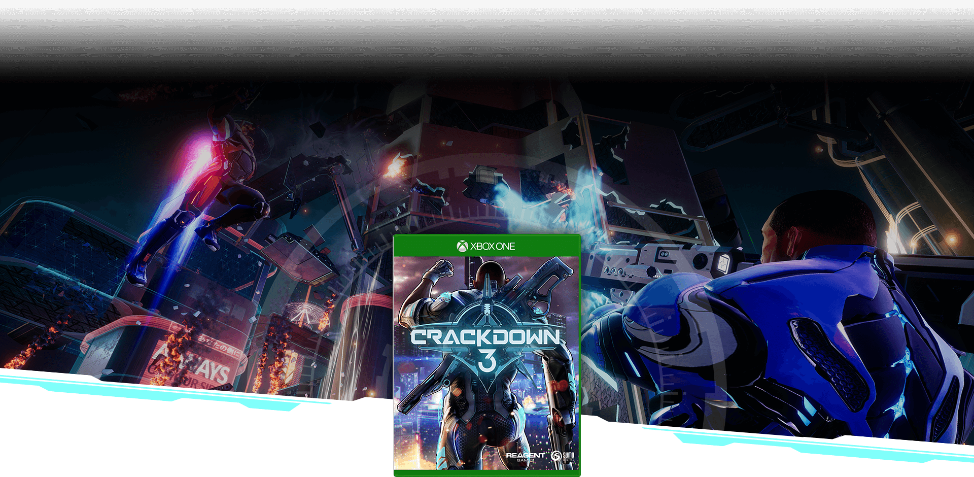 Crackdown 3 boxshot over background image of an agent firing a weapon next to a graffiti-painted brick wall