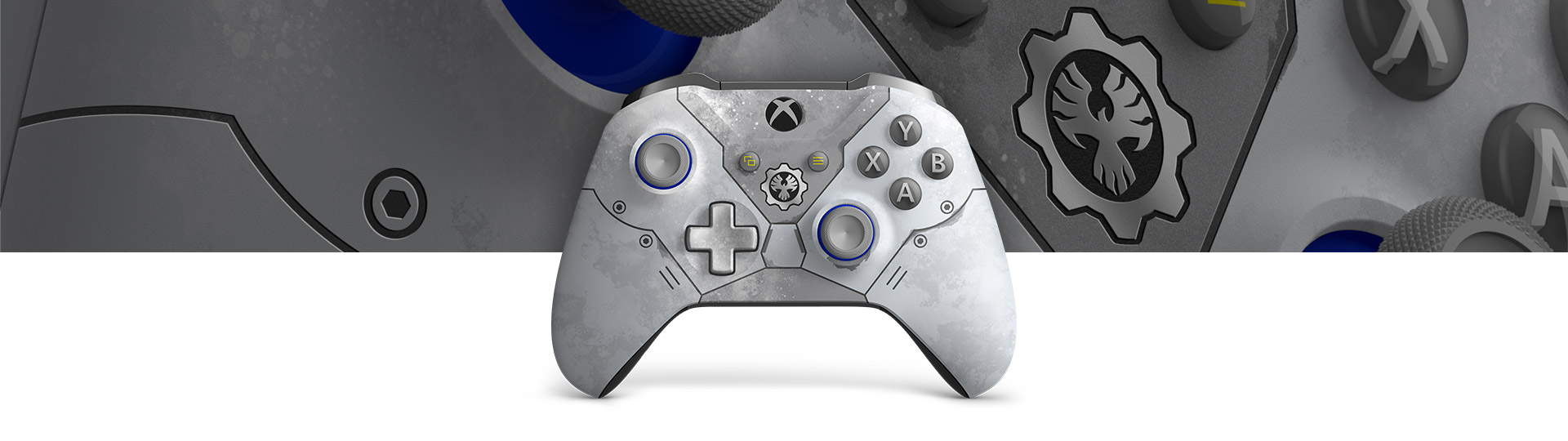 Front view of Xbox Wireless Controller – Gears 5 Kait Diaz Limited Edition with a closeup of snow weathered controller surface texture
