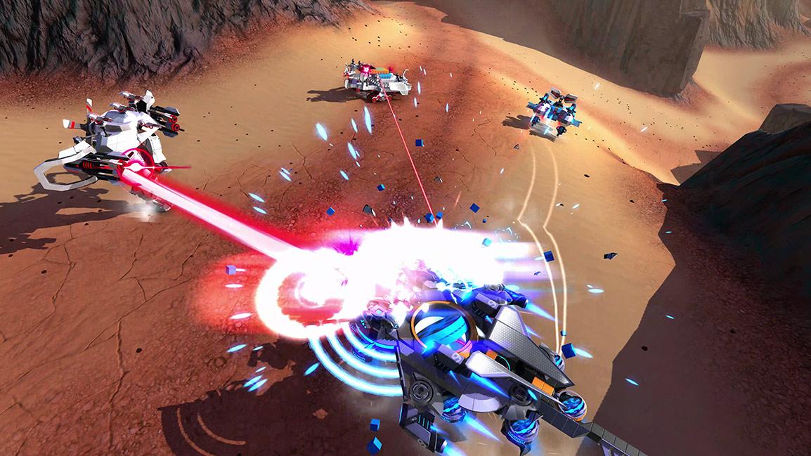 Tri vozidlá strieľajú laserom a rozdeľujú modré vozidlo