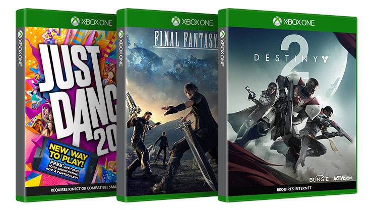 Disc cases of Just Dance Final Fantasy XV Destiny 2