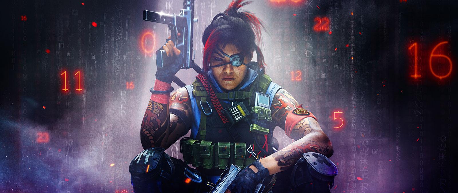 Postava spáskou přes oko aarmádní vestou drží dvě zbraně, kolem se vznášejí červená abílá čísla