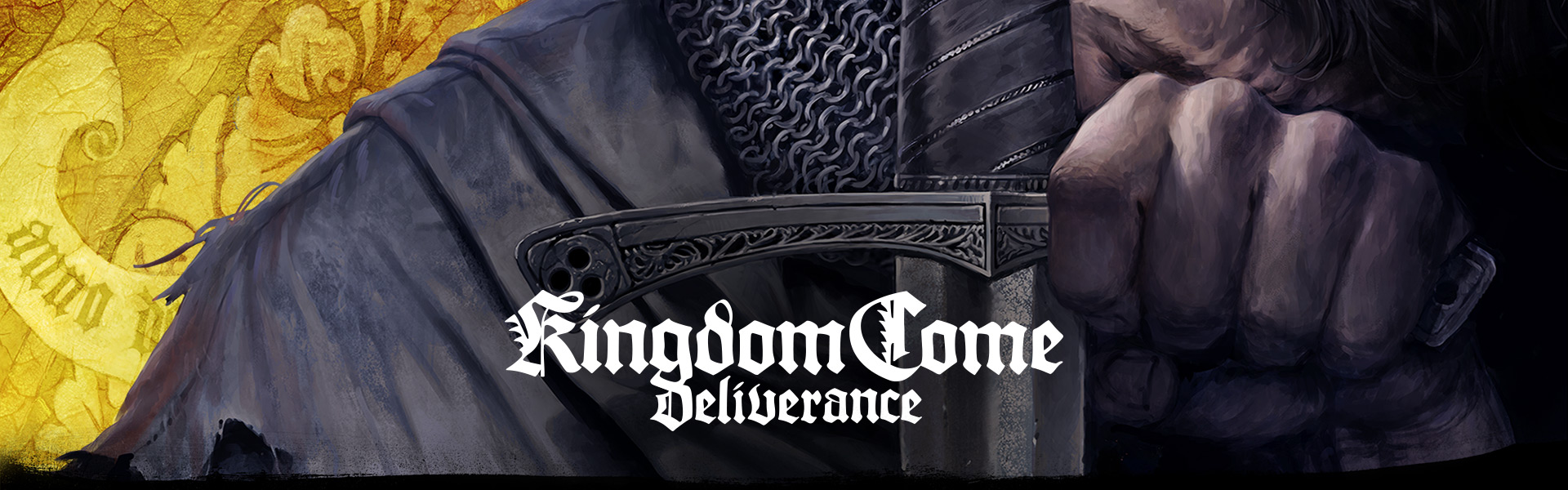 Kingdom Come: Deliverance (Close up of man's face as he kneels behind his sword)