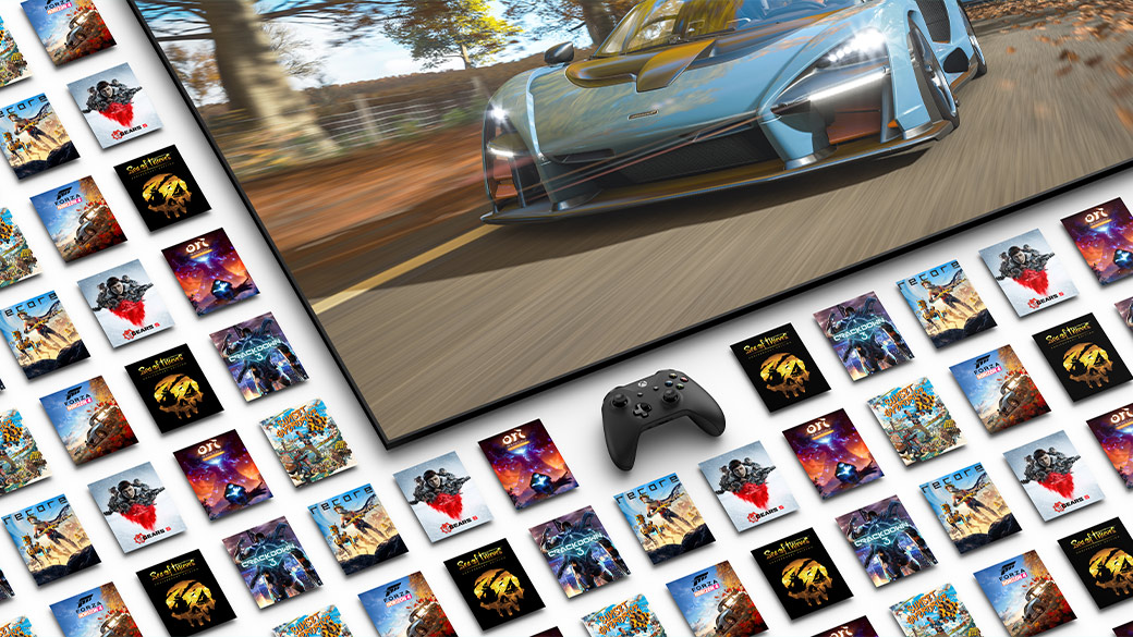 A collection of game posters surrounding a TV screen showing Forza
