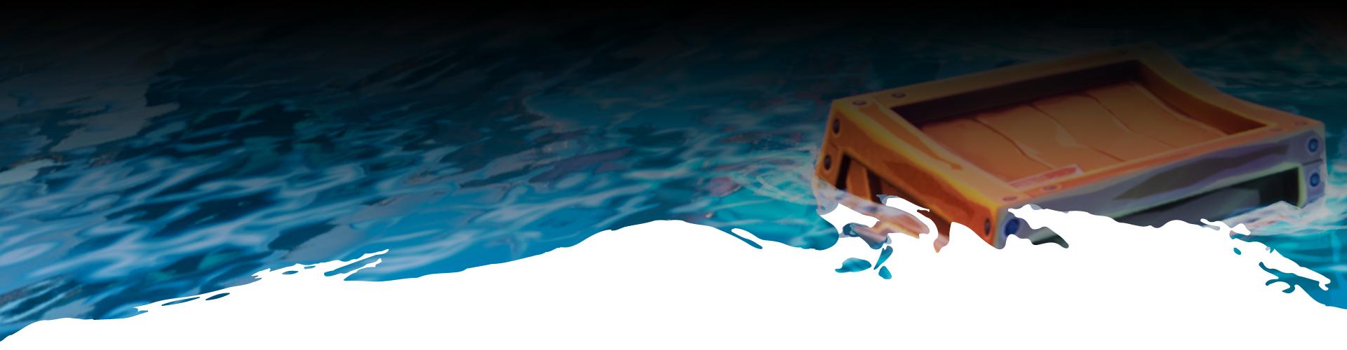 Eine einsame Schatztruhe treibt auf dem Ozean.