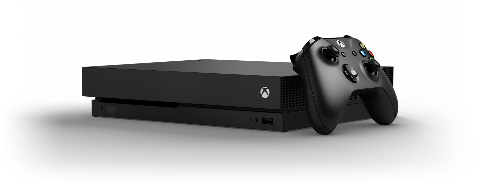 Xbox One X console with an Xbox wireless controller